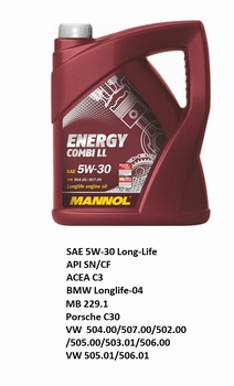 5 Ltr. Long-Life 5W-30 Mannol olie